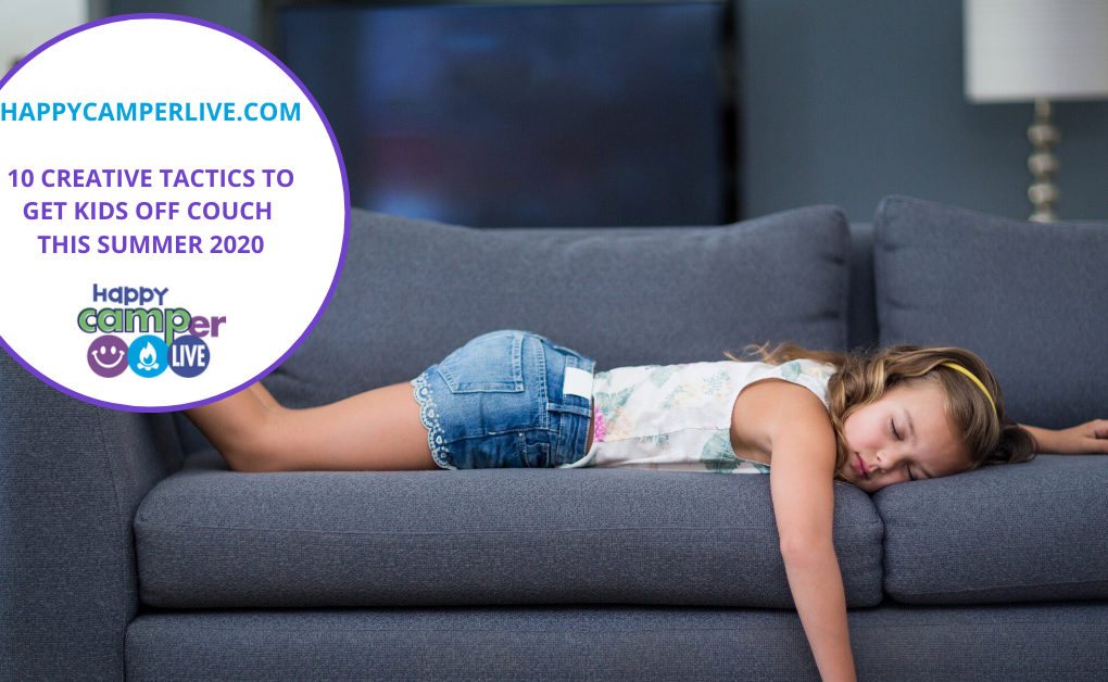 young girl sleeping on the couch from boredom