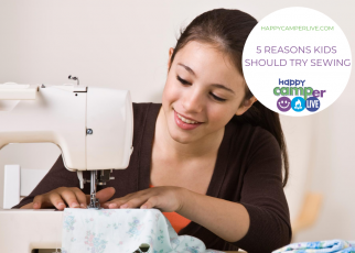 kid using sewing machine