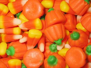 candy corn and candy pumpkins