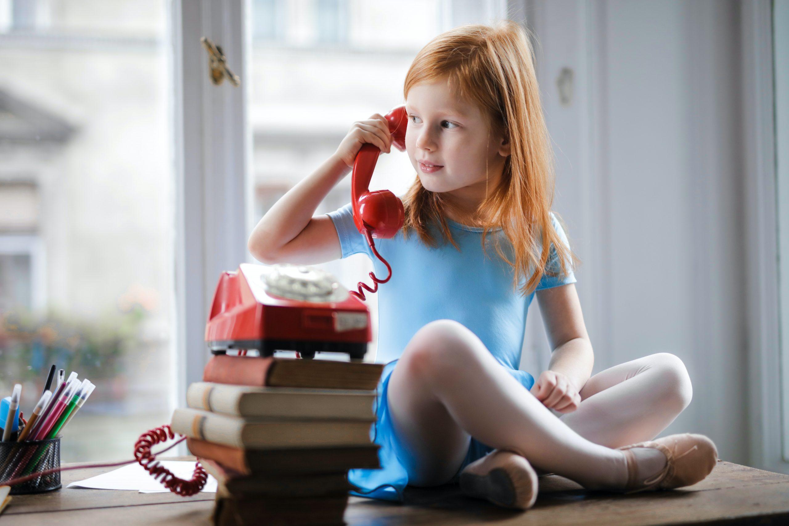Kid on phone