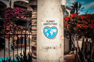 Planet earth first poster on a pillar