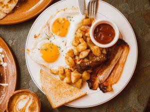 bacon, eggs, potatoes and toast breakfast